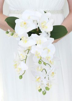 "Faux Phalaenopsis Orchid Cascading Bouquet in White<br>11"" Diameter x 13"" Tall"