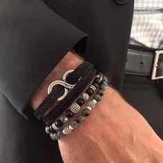 Men urban bracelet set, Onyx bracelet for men, Black bracelet for men, Great gift idea to usband, boyfriend and so Black Bracelets, Gemstone Bracelets, Bracelet Set, Bracelets For Men, Chain Bracelets, Leather Bracelets, Mens Biker Style, Mens Bracelet Fashion, Gold Chains For Men