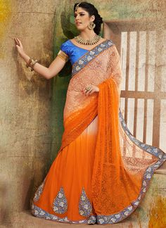 Tantalizing Orange Net Lehenga Saree