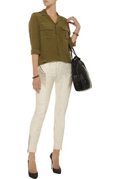 Distressed faux leather skinny jeans by Pierre Balmain