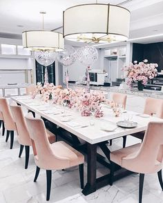 Pink, white and black dining