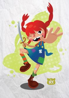 Pippi Longstocking by Nicolas Castro, via Behance Iconic Characters, Disney Characters, Pippi Longstocking, Textiles, Children's Book Illustration, Pepsi, Amazing Art, Childrens Books, Things That Bounce