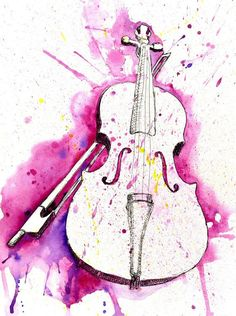 Watercolor Violin (Dark Blue) Art Print by Jonathan Meyer - X-Small Music Drawings, Music Artwork, Art Music, Art Drawings, Violin Painting, Violin Art, Painting & Drawing, Violin Music, Violin Drawing