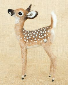 Ivan the Fawn: Needle felted animal sculpture by Megan Nedds of The Woolen Wagon