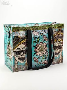 Blue Q-Day of The Dead,Green Reusable Shoulder Tote Grocery Bag Recycled Product   Clothing, Shoes & Accessories, Women's Handbags & Bags, Travel & Shopping Bags   eBay! Cool Stuff, Leather Handle, Soft Leather, Shopper Bag, Tote Bag, Thing 1, Reusable Shopping Bags, Grocery Bags, Vera Bradley Tote