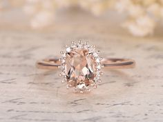 Princess Diana Ring,6x8mm Oval VS Pink Morganite Ring,14K Rose Gold Morganite Engagement Ring,Vintage Daisy Ring,Promise Ring,Floral Design #ringsjewelry