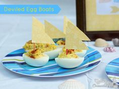 Deviled Egg Boats. How to Have a Teen Beach Party #TeenBeachMovie #Disney #sponsored