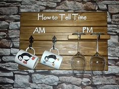 Fabulous Wine Glass and Coffee Mug Holder, Novelty Tell The Time Plaque, Great Fathers Day and Birthday Gift, Perfect Wine Gift for Her, Rustic Design, Handmade in the UK: Amazon.co.uk: Kitchen & Home