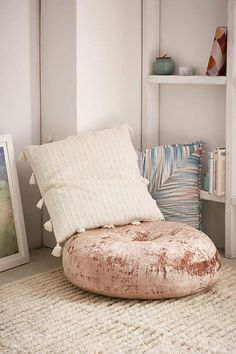 Slide View: 1: Amya Velvet Pillow Pouf