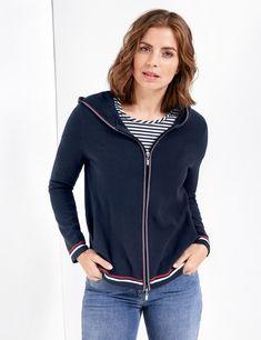 Sweatshirt jacket with contrasting stripes