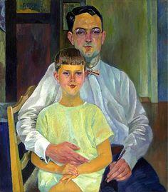 Conrad Felixmuller (1897-1977) Selbstbildnis mit meinem Sohn Luca