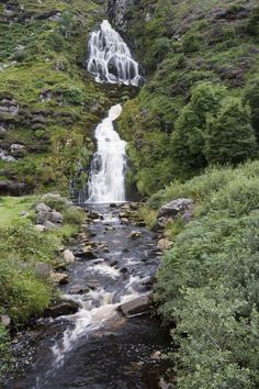 Assarancagh waterfall, near Maghera beach, County Donegal, Ulster.  Assarancagh waterfall can be viewed from the road to Maghera.