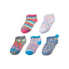 Girls 4-16 Pom Pom Graphic 5-pk. Crew Socks, Size: 6-8 1/2, Multicolor