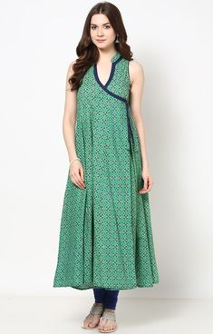 Green Printed Angrakha style Cotton Anarkali Kurti