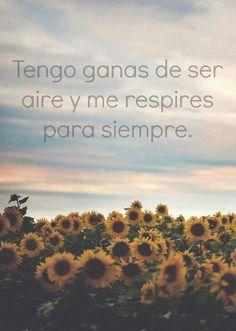 Tengo ganas de ser aire y me respires para siempre.....