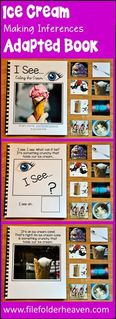"""This Ice Cream Adapted Book, """"I See,"""" Eating Ice Cream focuses on identifying ice cream themed objects by attribute, or function and includes real photos of things related to ice cream.  In this activity, the teacher or therapist reads through the book with students as students try to solve the riddle by identifying the ice cream themed object and matching piece that best fits the description."""