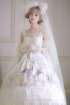 Blue Bird Bride Long Version Full Set by Rseries Pre-order ends 2019 July Quirky Fashion, Lolita Fashion, Gothic Lolita Dress, Korean Girl Fashion, Japanese Street Fashion, Soyeon, Cosplay Outfits, Pretty Outfits, Dress To Impress
