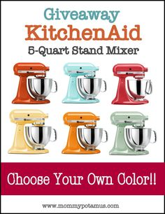 KitchenAid Artisan 5 Quart Stand Mixer Giveaway! ($350 value!)  http://www.mommypotamus.com/giveaway-kitchenaid-artisan-5-quart-stand-mixer-350-value/