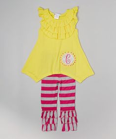 Love this Yellow Initial Tunic & Pink Stripe Leggings - Toddler & Girls on #zulily! #zulilyfinds