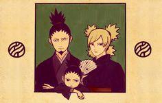 The Main Nara Family. I love how their expressions just like giving zero fuck at all. Anime Naruto, Naruto Comic, Naruto Uzumaki, Naruto Shikamaru Temari, Shikadai, Kakashi Sensei, Shikatema, Gaara, Naruto Art