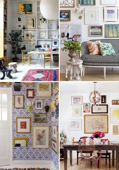 20 Inspirational Gallery Walls by Style Eclectic Artwork, Eclectic Gallery Wall, Eclectic Decor, Home Living Room, Living Spaces, Photo Wall Decor, Ideas Hogar, Wallpaper Gallery, Gallery Walls
