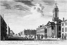 A View of St George's Church, Hanover Square from Conduit Street, London: 18th
