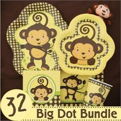 This monkey baby shower party pack has everything you need to create the cutest monkey baby shower.  It is so much easier to buy in a party pack then to be shopping all around.  It just makes your party planning a whole lot easier!  Visit us at http://www.modern-baby-shower-ideas.com/BabyShowerThemes.html Use Coupon code: modern11 and save 11%