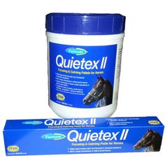Farnam's newly formulated Quietex II paste and pellets. Helps keep horses calm and focused during training, competition, and stressful situations.