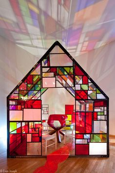 """Andrew Yes """"Show House"""" Experimental Living Exhibition curated by Andrew Yes . here pictured the House by Tom Fruin Light Colors, Colours, Glass House, Plexus Products, Colored Glass, Bunt, Pop Up, Stained Glass, Architecture Design"""