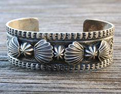 Vintage Navajo by Sunshine Reeves Native Sterling Silver Stamped Cuff Bracelet #SunshineReeves
