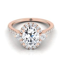 Oval Diamond Halo Engagement Ring With Round Prong Set Shoulders And Pave Shank In 14k Rose Gold