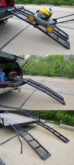 Arched Loading Ramp Set - a necessity when it comes to trailer accessories and loading heavy equipment into the trailer or truck. 1,600 lbs capacity, fold at the center for storage!