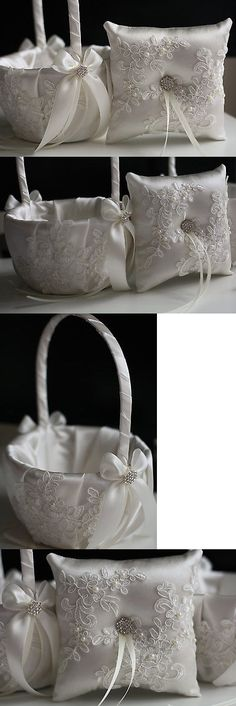 Ring Pillows and Flower Baskets 177762: Ivory Lace Wedding Pillow Basket Set, Ivory Applique Flower Girl Basket + Pillow -> BUY IT NOW ONLY: $59 on eBay!