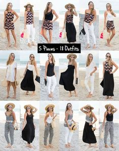 Breeziest Capsule Wardrobe With VacayStyle J's Everyday Fashion 5 Pieces - 18 Outfits VacayStyle Beach Vacation Outfits, Vacation Wardrobe, Summer Outfits, Travel Wardrobe Summer, Outfits For Hawaii, Outfits For Italy, Capsule Wardrobe Summer, What To Pack For Vacation, Cancun Outfits
