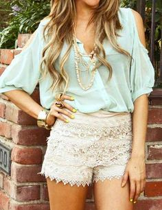 Love the lace shorts look for Spring! <3