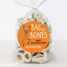 Chickabug 'Bag of Bones' Personalized Sticker & Treat Bag Set Halloween Teacher Gifts, Halloween Goodie Bags, Halloween School Treats, Halloween Favors, Halloween Goodies, Toddler Halloween, Halloween Stickers, Halloween Snacks, Holidays Halloween