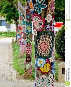 Yarn Bombing In Trees. European Park. Stock Photo - Image: 43326376