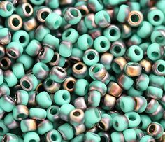 Seed beads, TOHO, Frosted Turquoise Apollo, Y857F, hybrid