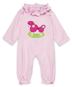 "NEW AURORA ROYAL BABY GIRLS PINK COTTON ""ROCKING POODLE"" LONGSLEEVED BABYGROW"