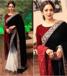 Buy black embroidered velvet saree with blouse bollywood-saree online