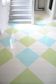 love this idea for our deck--a lot brighter and fresher looking than the old wood that's there now! Wood floors painted in soft blue & green diamond pattern
