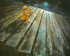 """Alone"" by Margaret Keane (Print is in my collection )"