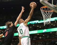 Boston MA 4/26/17 Boston Celtics Avery Bradley scores a layup beating Chicago Bulls Robin Lopez during first quarter action of game 5 of the NBA Playoffs at TD Garden. (Photo by Matthew J. Lee/Globe staff) topic: reporter: