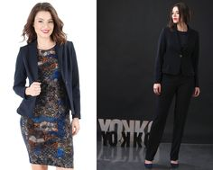Blue is the colour of this week YOKKO  fall16 #blue #office #outfits #trousers #jacket #dress #velvet #fall