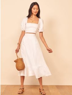This is a two piece set with a square neck cropped top with puff sleeves, and a midi length, trumpet skirt. The Yucca is slim fitting in the bodice with a relaxed fitting skirt. Mode Outfits, Fashion Outfits, Mode Costume, Dress Plus Size, Outfit Trends, Mode Inspiration, Slow Fashion, Fast Fashion, Aesthetic Clothes