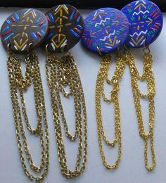Navajo Wooden Drop Chain Stud Earrings by RockPaperChic on Etsy