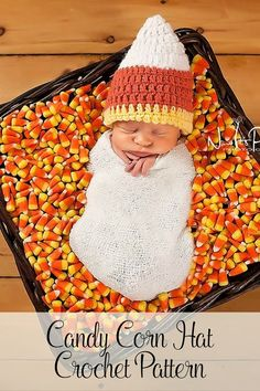 Crochet Pattern - This adorable crochet baby candy corn hat pattern is perfect for the fall and autumn seasons! It's a great halloween costume idea for boys and girls, and cute for everyday wear. By Posh Patterns.