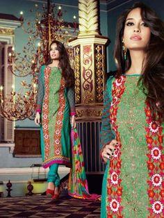 Green Red Georgette Charming Long Salwar Kameez                parisworld.in