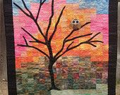 Whimsical Owl at Dawn Patchwork Quilt for Baby, Lap, or Wall