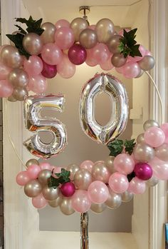 Balloon garland hoop in silver and pinks. Perfect for a birthday Balloon garland hoop in silver and pinks. Perfect for a birthday Balloon garland hoop in silver and pinks. Perfect for a birthday 50th Birthday Balloons, 50th Birthday Centerpieces, Moms 50th Birthday, Happy Birthday, Birthday Garland, 50th Party, Birthday Party Themes, Birthday Presents, Birthday Party Decorations For Adults